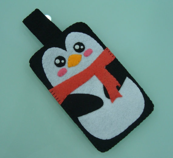 "Handmade Felt Case - "" Cute Penguin"" Design"