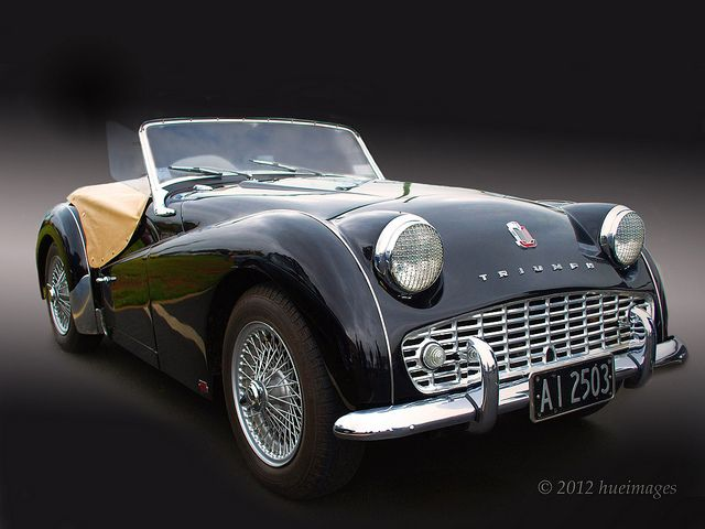 1958 Triumph TR3A Roadster. Ginny and my first sports car...what great fun!