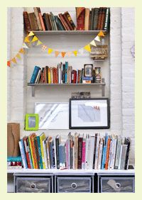 Art studio organization for paper crafters.