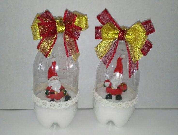Como hacer bolas de nieve con botellas de plastico - Manualidades de bolas de navidad ...