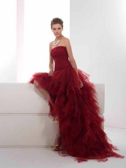 Abito da sposa Virna rosso scuro con rouches