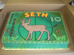 Deer hunting cake...lol - maybe with more cammo and detail on the deer?