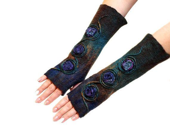 Gloves fingerless silk 3D design by ArtMode on Etsy