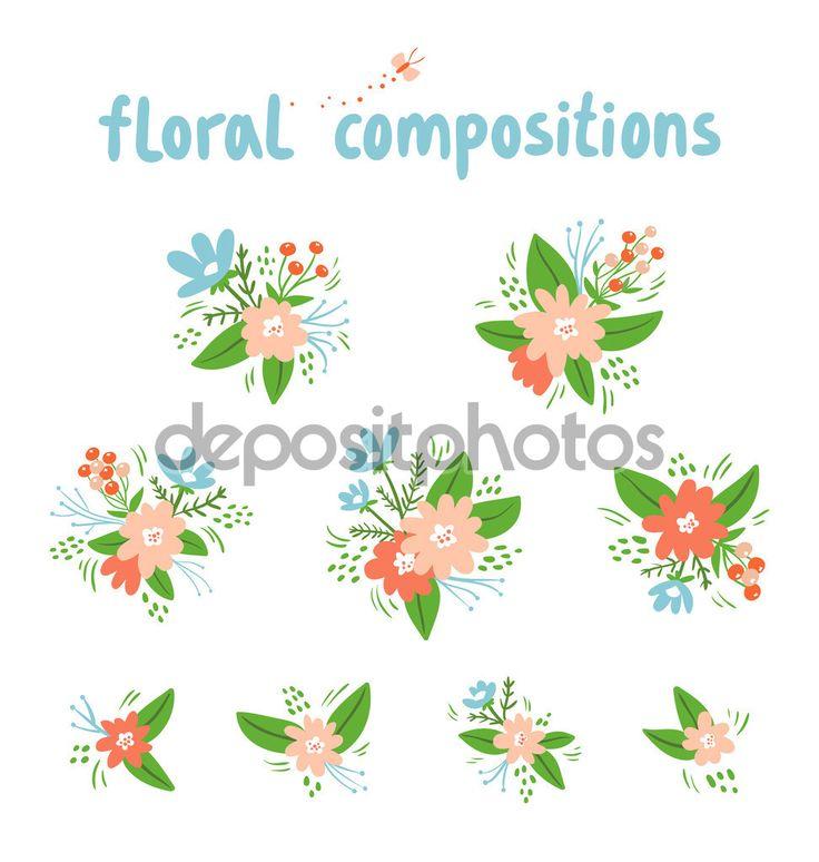 винтажные цветочные композиции Векторная коллекция — Стоковая иллюстрация #54121753