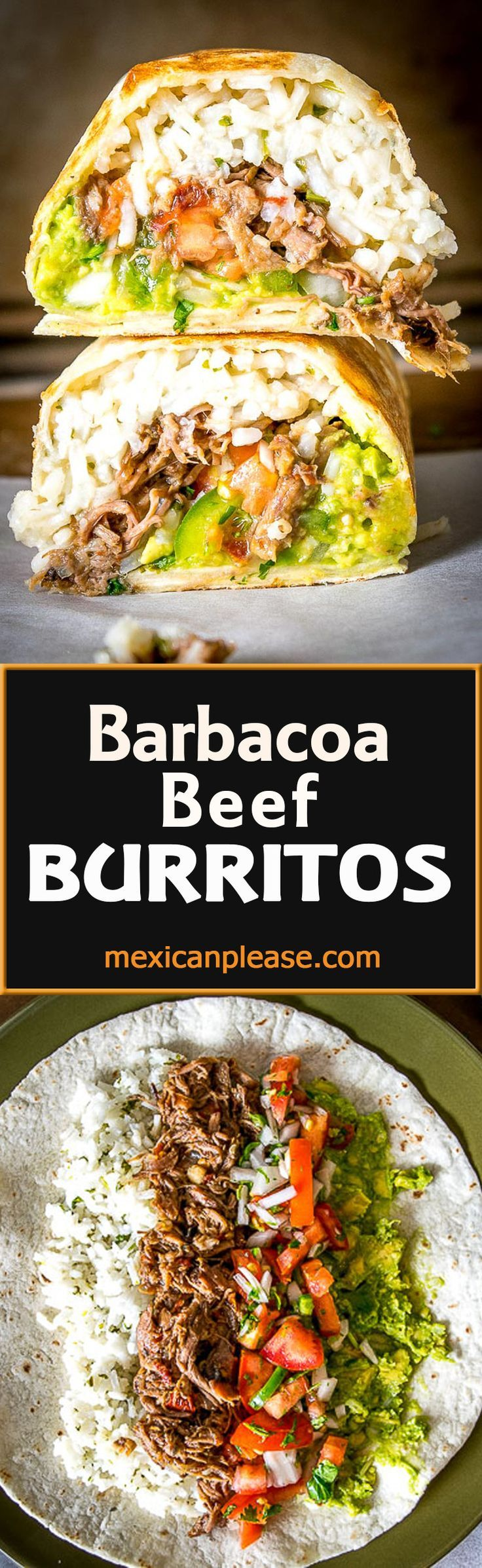 Freshly made Pico de Gallo combines with Barbacoa Beef and Guacamole to make these Barbacoa Beef Burritos sing!  Slow cooker barbacoa works great but feel free to use any shredded beef you have on hand.  So good!  mexicanplease.com