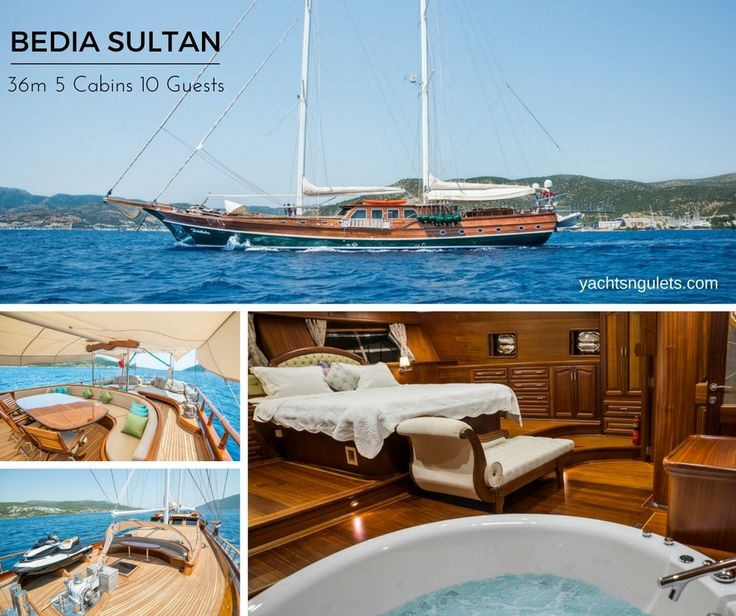 A romantically appealing #yacht, the Bedia Sultan #gulet is a #classic #Bodrum premium quality vessel. She spaciously accommodates up to 10 special guests in 5 very well designed cabins. At 36 meters in overall length and a beam of 8 meters one can only imagine how large the deck space on board is. There is a good assortment of water toys on board with jet ski, water skis, and more. Contact #Mirya #Yachting for more information. http://yachtsngulets.com/yacht/bedia-sultan-gulet/