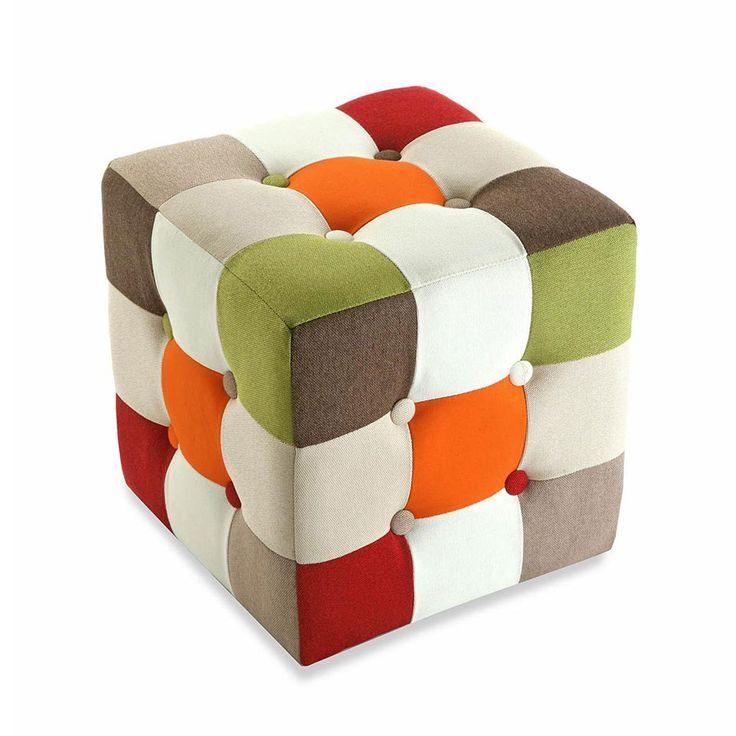 Pouf Pouf carré patchwork Retro Pouf carré patchwork Retro