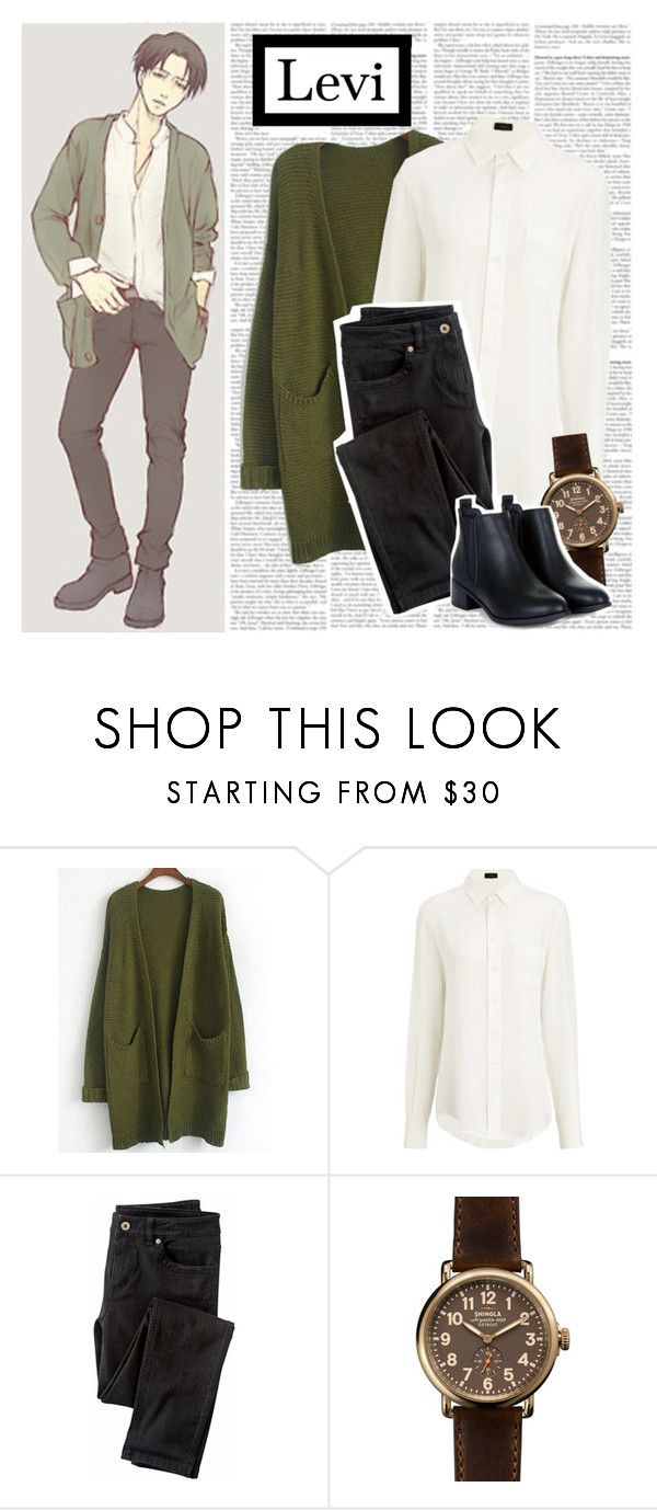 """""""Levi Ackerman    Modern Day"""" by graywil ❤ liked on Polyvore featuring Levi's, Joseph, Wrap, Shinola and modern"""