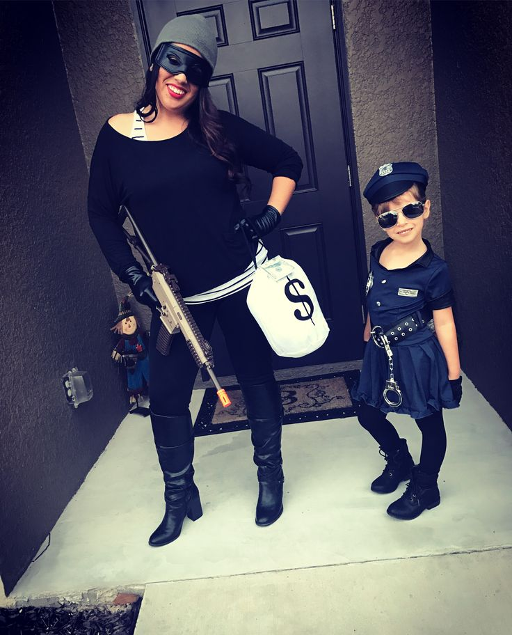 Mother-daughter Halloween Costume. Cops and Robbers
