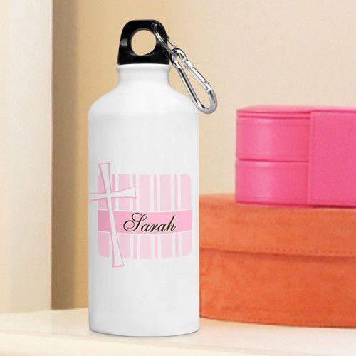 Inspirational Water Bottle - God Bless Pink