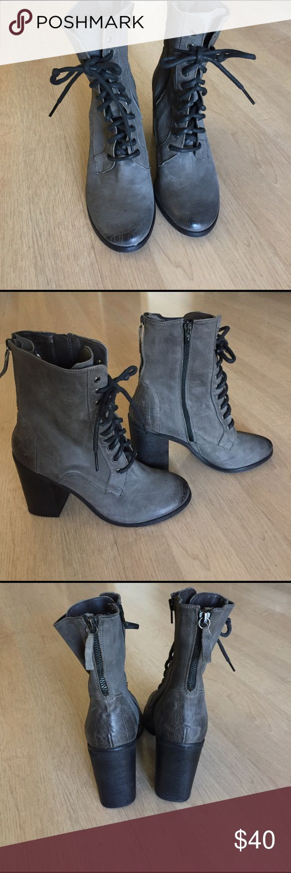 Boutique 9 grey leather boots Boutique 9 grey leather boots. New condition. Has zippers on the sides and the back.  Grey distressed leather 3 1/2 in heel Boutique 9 Shoes Ankle Boots & Booties