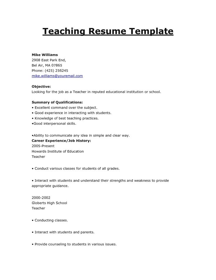 24 best Resumes images on Pinterest Teaching resume, Teacher - resume samples teacher