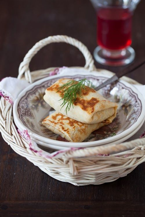 """Russian Monday: Crepes or """"Blintzes"""" stuffed with Cabbage - Stuffed Pancakes.  Russian food, Russian recipes"""