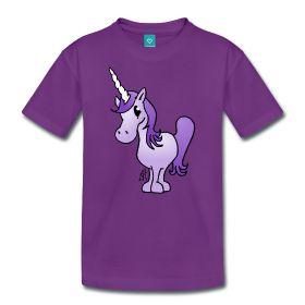 Paarse éénhoorn op een teenager premium T-shirt. #Spreadshirt #Tekenaartje