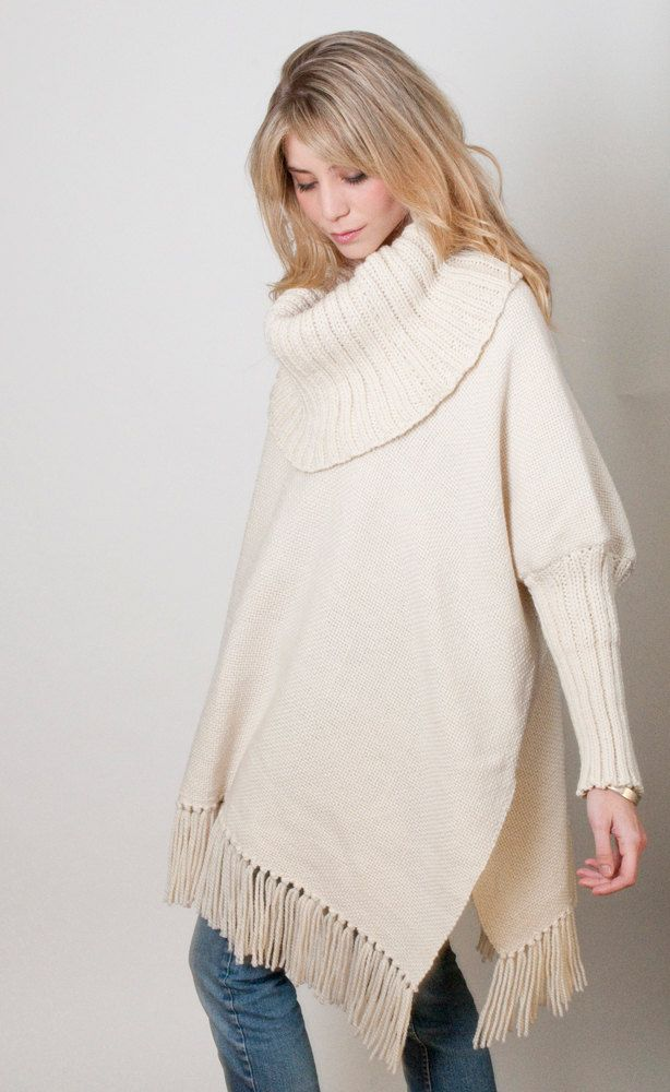 Oversized Loose sweater Off White Poncho handwoven Plus size wool cape coat turtleneck Wrap poncho Women Men fringed Poncho
