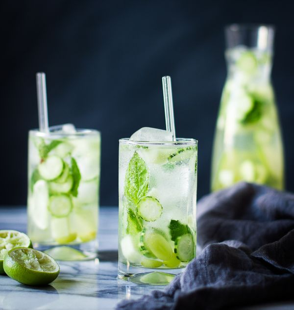 Sangrìa Verde {Vinho Verde, Cucumber, Melon, Mint, Basil + Lime}