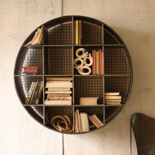 Usually, I like squares...289.00 Find it at the Foundary - Round Industrial Wall Shelf