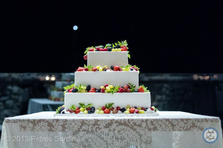 Wedding Cake with Fresh Fruits | Mykonos Wedding @ Santa Marina by Stella and Moscha - Exclusive Greek Island Weddings | Photo Petros Sordinas