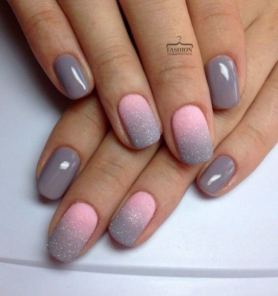 Grey and pink ombré nail design