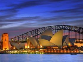 Sydney Opera House and Harbor Bridge at Night, Syd...