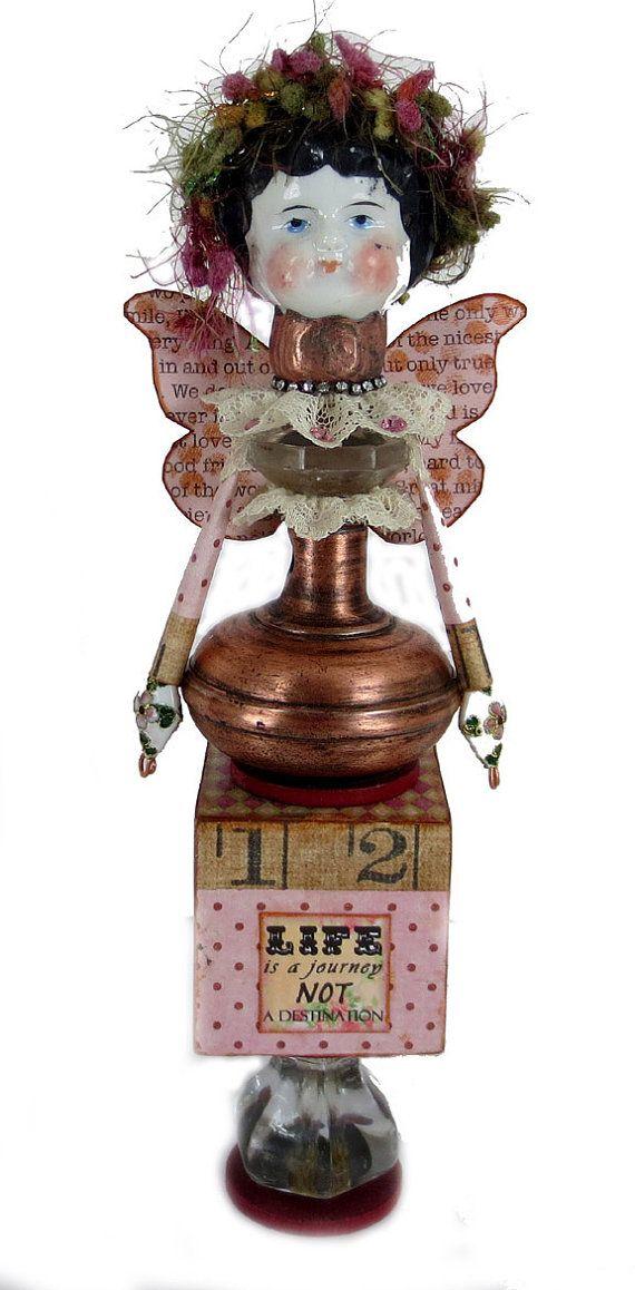 Assemblage Art Doll, Frozen Charolett, Altered Art Doll, Assemblage Art, Inspiration