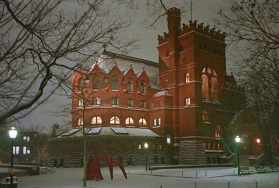 Fisher Fine Arts Library of the University of Pennsylvania, Pennsylvania.  In 1888, most architects were focused on Romanesque styles built with marble and granite. But this library's architect, Frank Furness, wanted the building to reflect the architectural style of Philadelphia's many red brick factories.