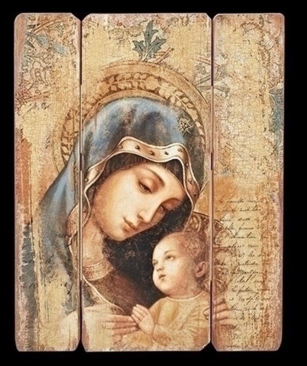 Madonna And Child Vintage Style Wall Panel Beautiful Madonna and child wall plaque for home or chapel. Large size sure to bring peace and love to any room. Joseph Studios Collection MADE WITH MEDIUM D