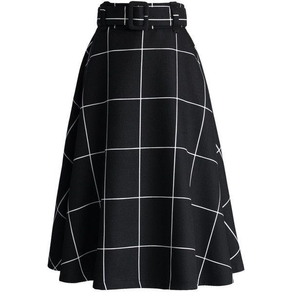 Chicwish Sway the Plaids Belted Midi Skirt in Black ($42) ❤ liked on Polyvore featuring skirts, black, print midi skirt, calf length skirts, mid calf skirt, mid calf black skirt and plaid skirt