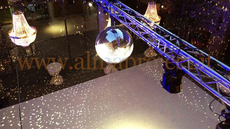 ALMA PROJECT - Castello di Vincigliata - courtyard - mirror ball - truss - dancefloor