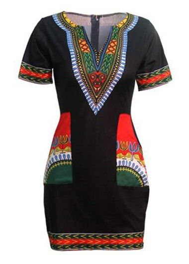 Split Neck Java Print Black Dashiki Dress on sale only US$23.44 now, buy cheap…