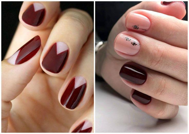 лунные ногти бордового цвета