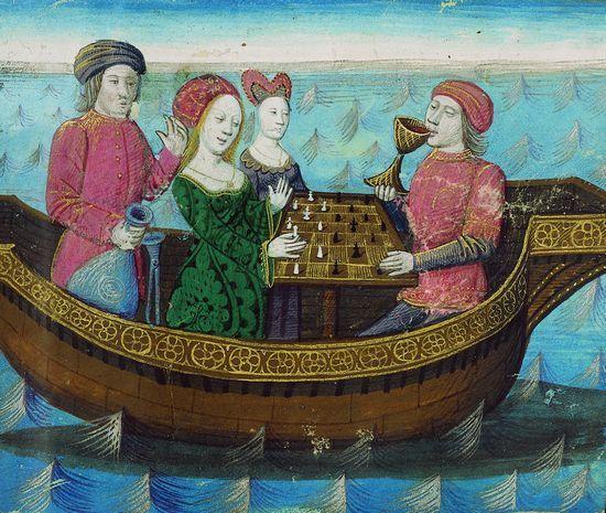 Tristan et Iseut buvant le philtre d'amour. Miniature (1470) extraite du Livre de Lancelot du lac, de Gautier Map. (Bibliothèque nationale de France, Paris.)