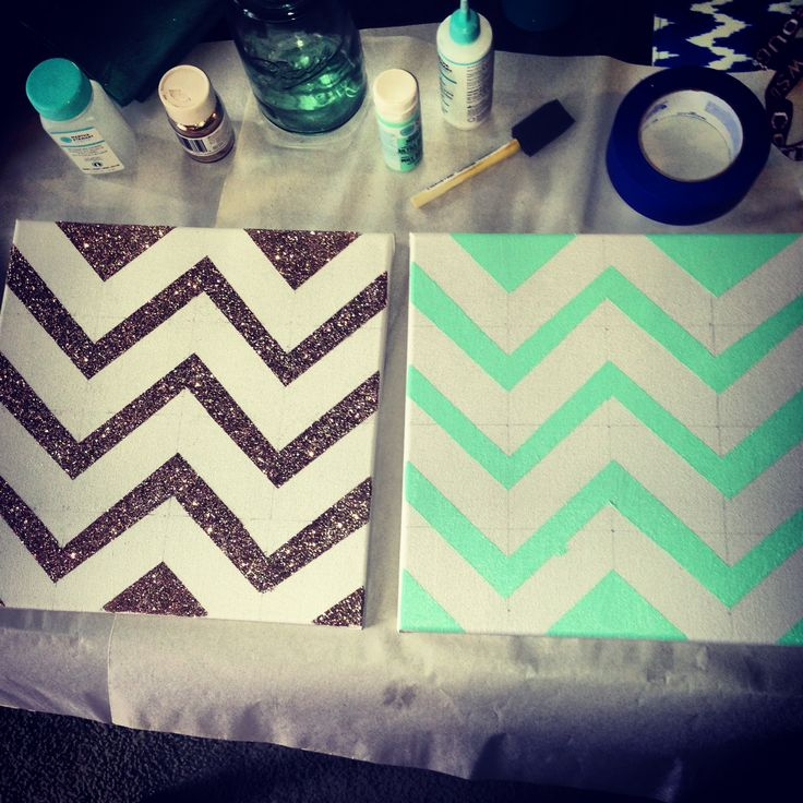 Glitter chevron canvas art diy glitter just add Diy canvas art