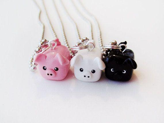 Especial Three Little Pigs mejor amigo Necklace Set de 3