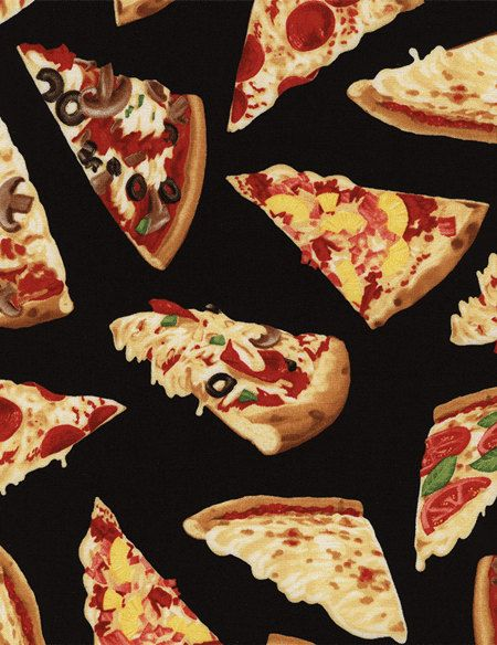 One Yard Timeless Treasures Fun Food HOT CHEESE PIZZA Slices On Black Fabric