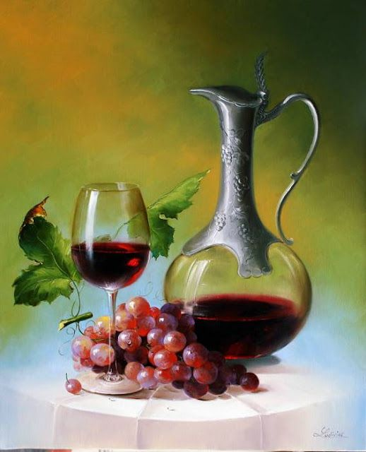 wine glass decanter - http://maherartgallery.blogspot.in/2012/01/ludivine-corominas-1976-france-still.html
