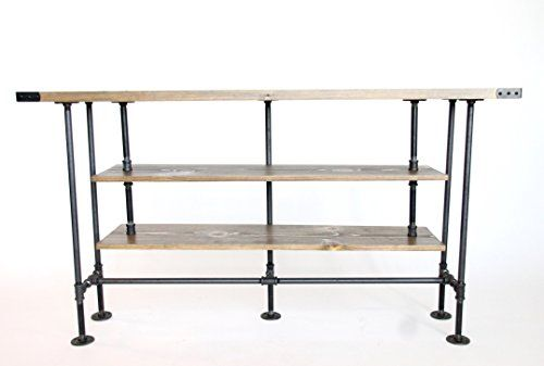 TV Console Table, Large, Rustic TV Stand, Industrial Style, Free Shipping, Country Rustic Farmhouse Table with Shelf  Crafted in our workshop near Detroit, Michigan, our popular rustic style TV stands are made from sturdy industrial metal pipe and hand-finished wood. Our Console tables come in 4 standard sizes and can be further customized to fit your space and storage needs. Choose from 4 finishes: Blackened, Rusty, Weathered, https://homeandgarden.boutiquecloset.com/product