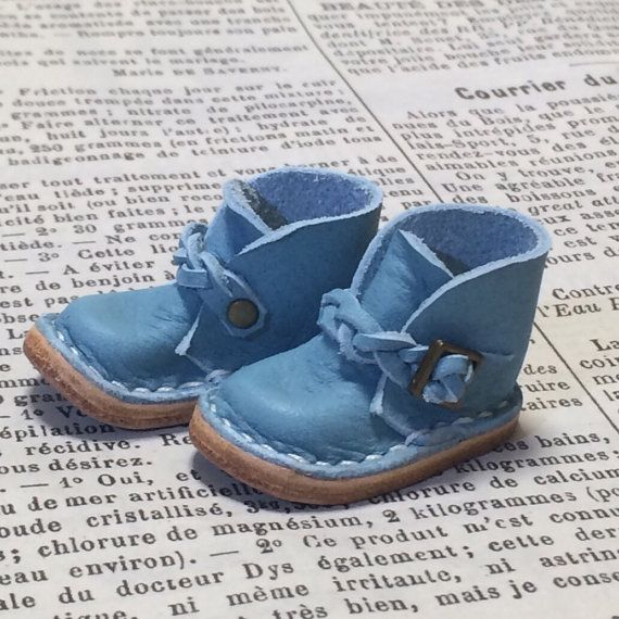 Real leather: miniature ankle boots blue sky for by nero1025