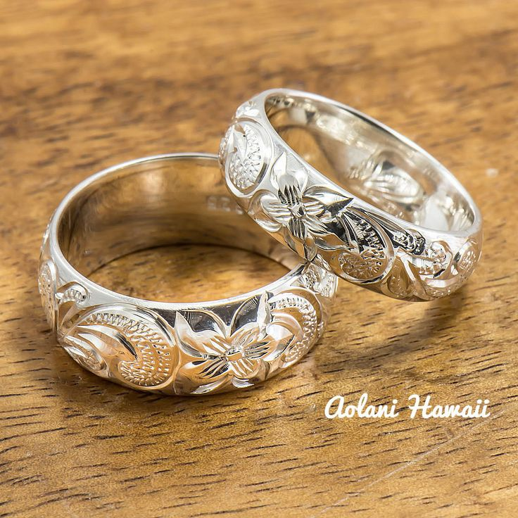 Silver Wedding Ring Set of Traditional Hawaiian Hand Engraved Sterling Silver Rings (8mm & 6mm width Barrel Style)