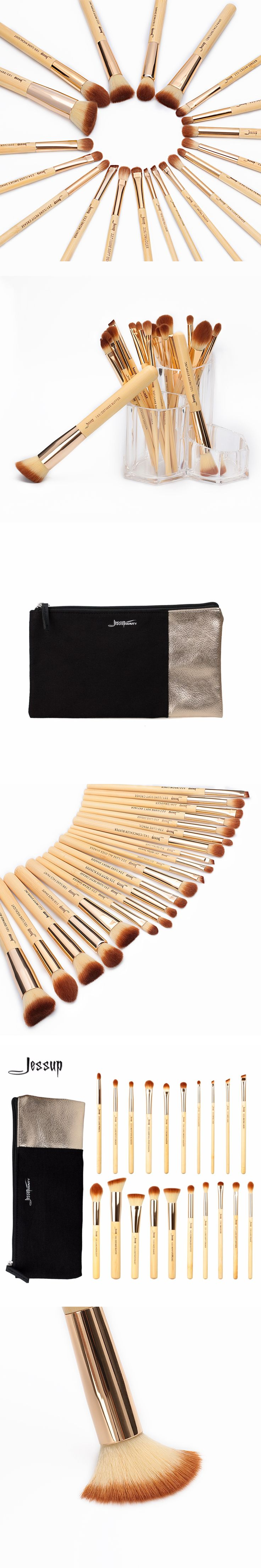 Jessup  20pcs Beauty Bamboo Professional Makeup Brushes Set T145 & Cosmetics Bags Women Bag CB002
