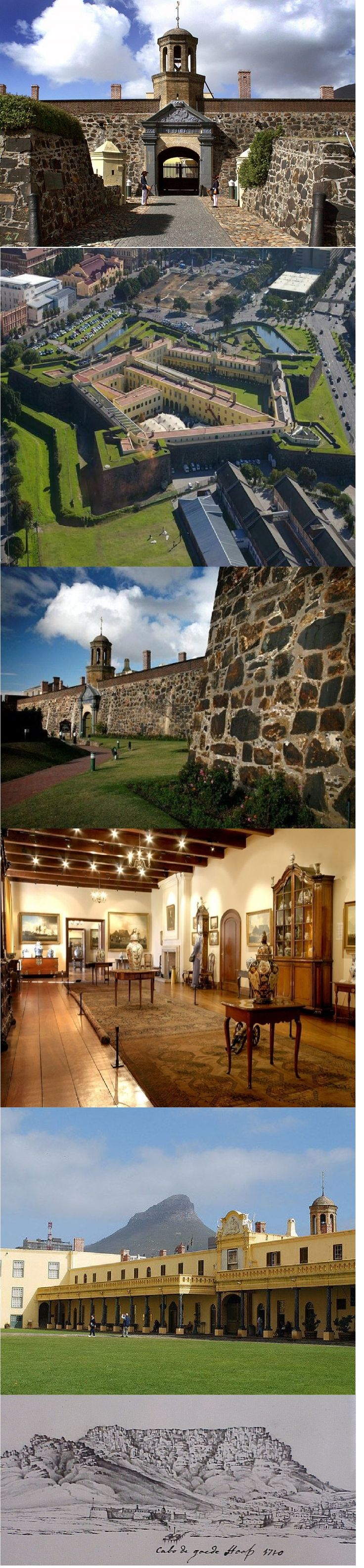 Built between 1666 and 1679 by the Dutch East India Company (VOC) as a maritime replenishment station, the Castle of Good Hope is the oldest surviving colonial building in South Africa. From 1678 it was the centre of civilian, administrative and military life at the Cape, until the settlement grew and some functions and activities moved away from the Castle. Today the Castle is the seat of the military in the Cape, and houses the Castle Military Museum and Iziko Museums of Cape Town