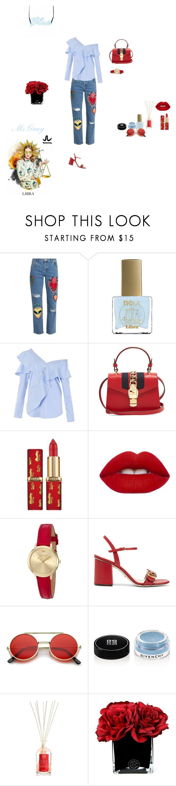 """Libra Justice"" by fmsgray ❤ liked on Polyvore featuring House of Holland, ncLA, FAIR+true, Gucci, Lime Crime, Juicy Couture, ZeroUV, Givenchy, Antica Farmacista and Hervé Gambs"