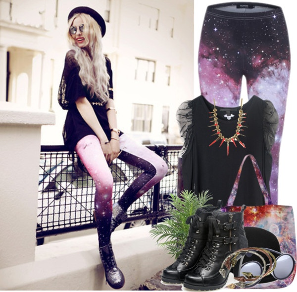 """Galaxy Leggings & Bag!!!"" by romwe ❤ liked on Polyvore"