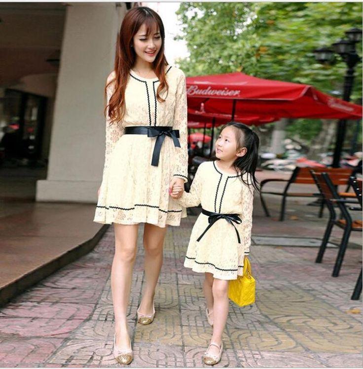 Nova Mãe Filha Vestidos De Verão Meninas Mulheres Laço Vestido Roupa Roupa De Família