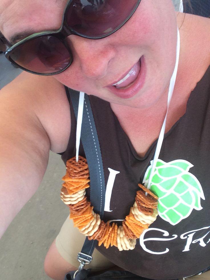 Pretzel necklace for a beer fest.