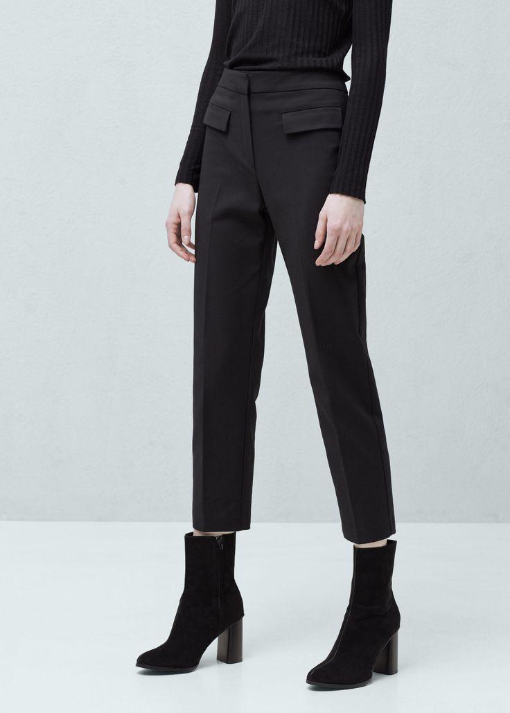 Прямые хлопковые брюки - Брюки  - Женская | MANGO МАНГО Россия (Российская Федерация)