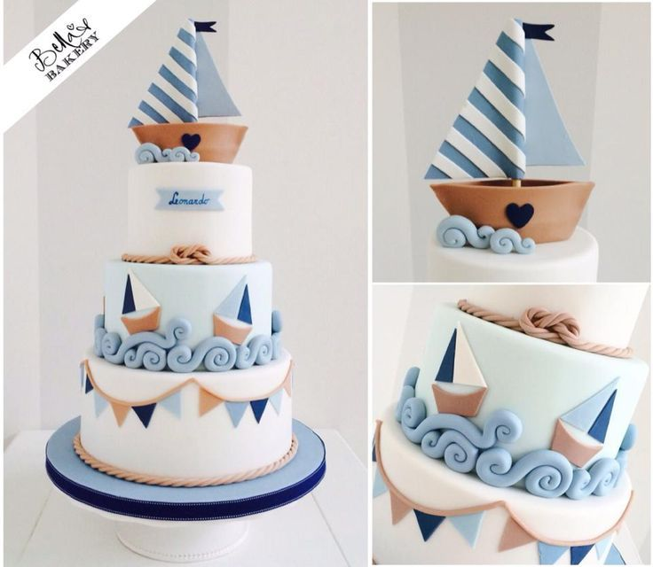 We love this nautical sailboat cake - perfect for a #Babyshower #Christening or #1stBirthday