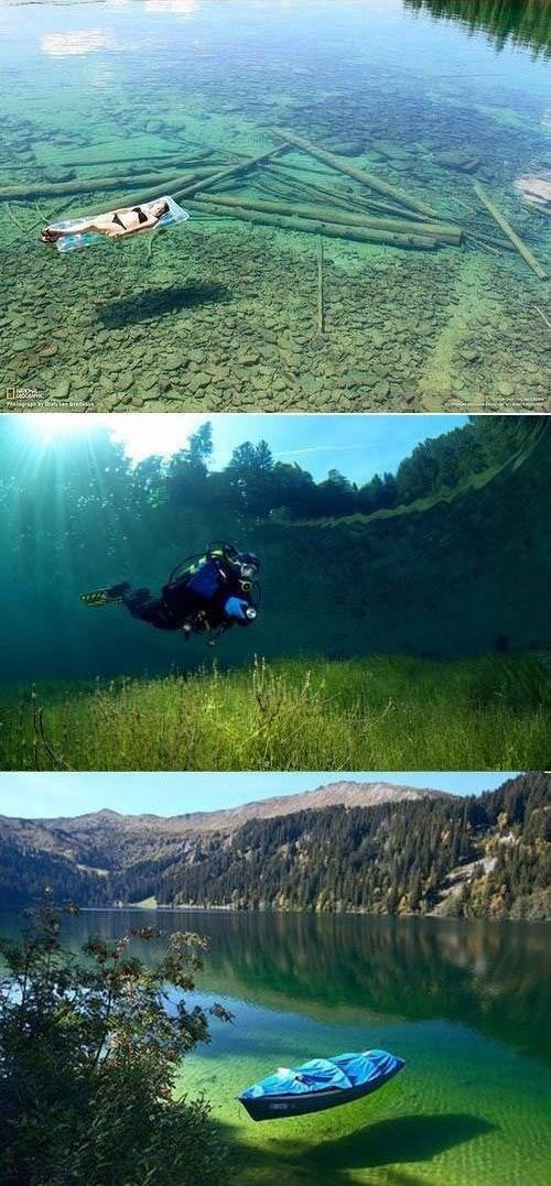 Flathead Lake, Montana - Because of it's crystal clear waters it seems extremely shallow but in reality it is around 370 feet deep.