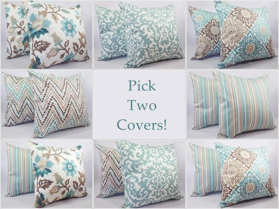 Two Couch Pillow Covers 18 x 18 Inch Blue by CastawayCoveDecor, $30.00