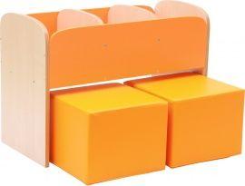 100724 Lage boekenkast voor kinderen in de kleur Oranje